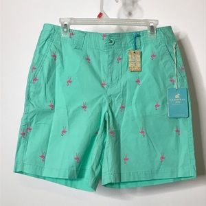 Caribbean Joe Cool Breeze Flamingo Print Shorts 8